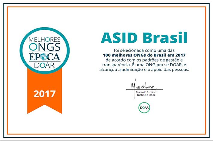 ASID BRASIL, ONG curitibana, é uma das 100 melhores do país